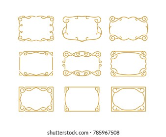 VINTAGE DECORATIVE MONOLINE FRAME BORDER. beautiful for logo, photo frame, label, invitation card and other decorative purposes.