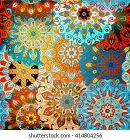 Vintage decorative pattern. Islam, Arabic, Indian, ottoman motifs. Perfect for printing on fabric or paper. Can be used for greeting card or booklet background. Blue and orange colors