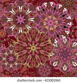 Vintage decorative pattern. Islam, Arabic, Indian, ottoman motifs. Perfect for printing on fabric or paper. Can be used for greeting card or booklet background. Maroon and burgundy colors