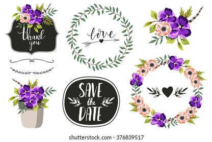 Vintage decorative plants and flowers collection. Hand drawn vector design elements. Template for Scrapbooking, Stickers, Planner, Invitations