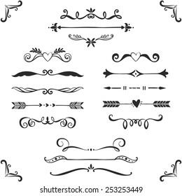 Vintage decorative text dividers collection. Hand drawn vector design elements