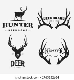 vintage deer brand logo, icon and template