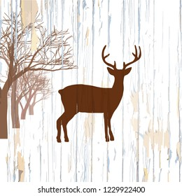 Vintage deer on wooden background. Hand-drawn vector vintage illustration.