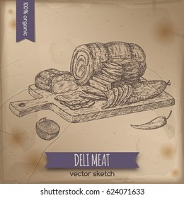Vintage deli meats platter template placed on old paper background. Great for market, restaurant, grill cafe, food label design.