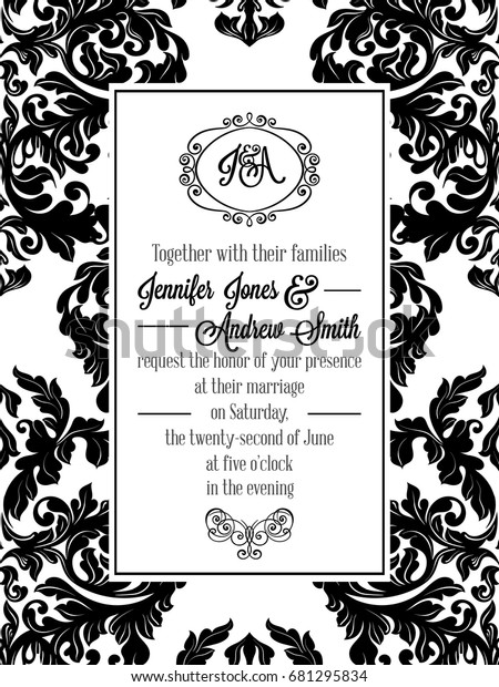 Vintage Delicate Formal Invitation Card Black Stock Vector
