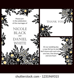 Vintage delicate greeting invitation card template design with flowers for wedding, marriage, bridal, birthday, Valentine's day. Romantic vector illustration.