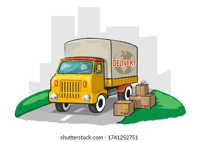 Vintage delivery truck with boxes. Vector Illustration.