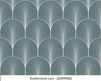 Vintage denim blue seamless art deco wallpaper pattern vector