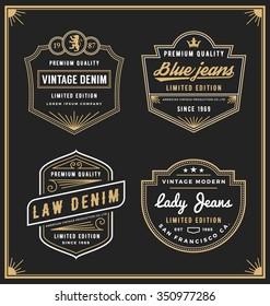 Vintage denim jeans frame logo for your business. Use for label, tags, banner, screen and printing media. Vector illustration