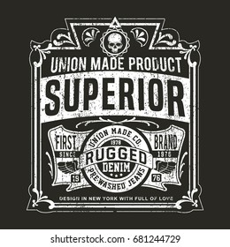 Vintage Denim print for t-shirt or apparel. Retro artwork in black and white for fashion and printing. Old school vector with traditional theme and typography. Vintage effects are easily removable.