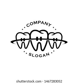 Vintage Dental Logo with three tooth group together like family care