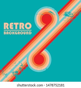 Vintage design background with twisted colored stripes and retro grunge texture. Vector illustration.
