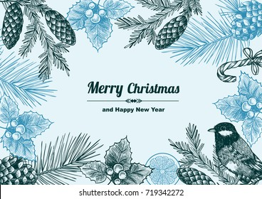 Vintage design for christmas card or invitation. Hand drawn. Vintage style