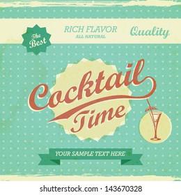 Vintage Design - cocktail time background. Vector retro typography