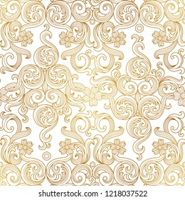 Vintage design element in Victorian style. Vector seamless pattern with floral ornament. Ornamental lace tracery. Golden ornate illustration for wallpaper. Traditional gold decor on light background.