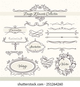 Vintage design elements. Collection of unusual figures for page decoration. Calligraphic elements set: vintage frames, swirls, page dividers.