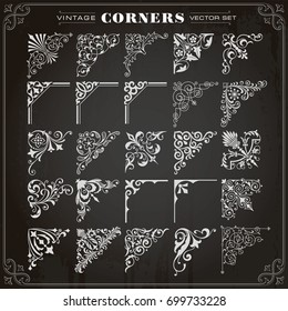 Vintage Design Elements Corners Borders Frames Set 1 Vector