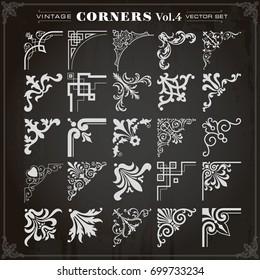 Vintage Design Elements Corners Borders Frames Set 4 Vector