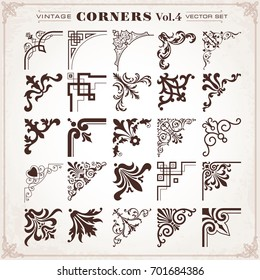 Vintage Design Elements Corners Borders Frames Set 4 Vector