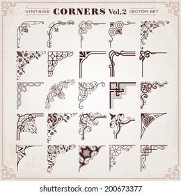 Vintage Design Elements Corners Vector