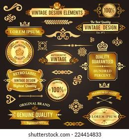 Vintage design elements golden luxury decorative set isolated vector illustration