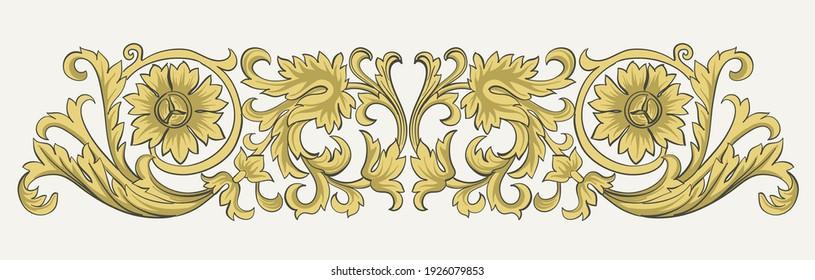 Vintage design elements of golden swirls. Vector print. Classic decorative element.