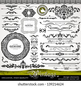Vintage design elements, ornaments and dividers and elegant page background decorations, exclusive, highest quality, retro style set of ornate floral patterns template