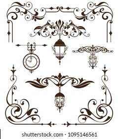Vintage design elements ornaments frame corners curbs retro stickers and damask vector set illustration white background