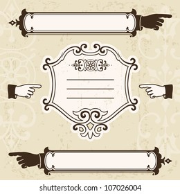 Vintage design elements with pointing hands and signboard. Space for text