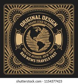 Vintage design with engraving world element