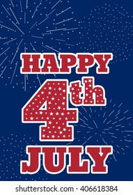 Vintage design for fourth of July Independence Day USA. Designed in traditional american flag colors with firework.