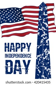 Vintage design for fourth of July Independence Day USA. Designed in american flag colors with Washigton Monument.