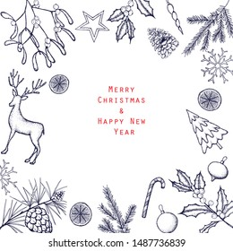 Vintage design for greeting card or invitation for Christmas selebration.Hand drawn vector background.