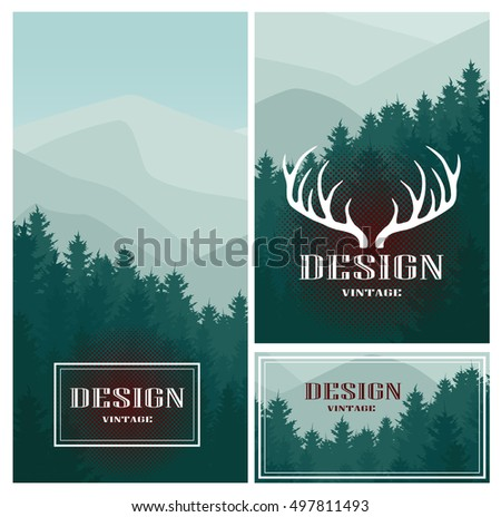 Vintage design icon element business card stock vector royalty free vintage design icon element with business card and paper template set of vector mountains and colourmoves