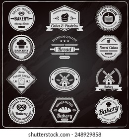 Vintage design premium quality family bakery chalkboard fresh bread emblems labels collection outline abstract isolated vector illustration