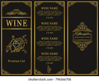 Vintage design of restaurant menu. Wine list or card collection, cover and page for price. Beautiful ornate design with grapes, bottles of wine, wave vine elements. Menu template, premium gold style