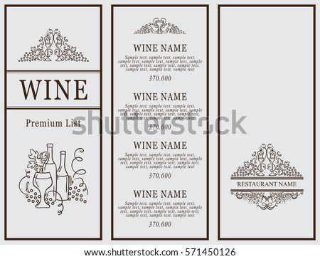 Vintage Design Of Restaurant Menu Wine List Or Card Collection Cover And Page For