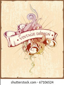 Vintage design of ribbon with beautiful pattern. Dirty old school hand drawn illustration. Scratched paper background. Layered. Vector EPS 10 illustration.