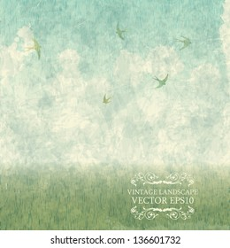 Vintage Design - summer landscape with meadows and swallows. Vector grungy texture