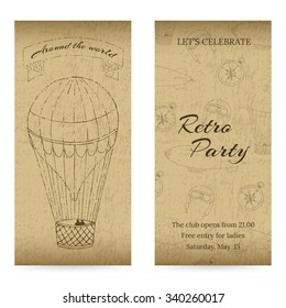 Vintage design template with grunge elements. Aeronautic theme. For flyers, brochure, coupon, ticket, banner, rack card or web design. Vector. You can put your own text message.