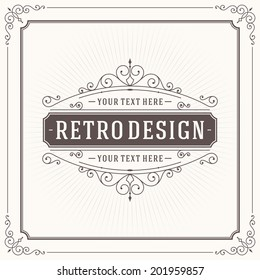 Vintage design template. Retro greeting card flourishes, calligraphic and typographic design elements. Template for design invitations, posters and other design.