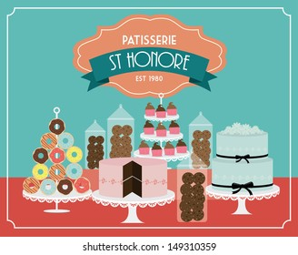 vintage desserts template vector/illustration