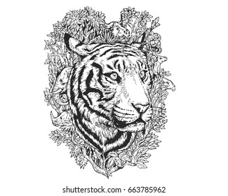 Vintage Detail Realistic Hand Drawing Save Protected Animal Forest Concept - Tiger