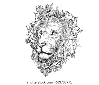Vintage Detail Realistic Hand Drawing Save Protected Animal Forest Concept - Lion