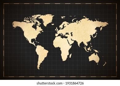 Vintage detailed ancient world map on dark background