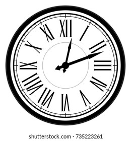 Vintage dial clock with roman numerals. Vector old clock, retro clock antique, illustration of vintage time clock face