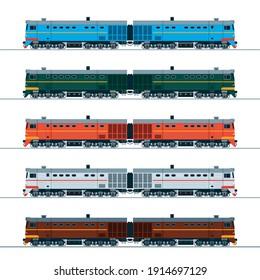 Vintage diesel locomotive. Side view. Illustration in different colors