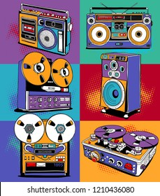 Vintage different Recording equipment in a bright Pop Art style. Audio tape cassettes, portable boombox, radio, player recorder, powered speaker.  Poster, t-shirt composition. Vector illustration.