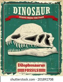 Vintage Dilophosaurus Dinosaur poster design