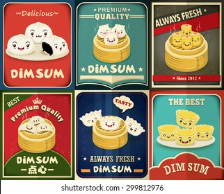 Vintage dim sum poster design set. Chinese text means a Chinese dish of small steamed or fried savory dumplings containing various fillings, served as a snack or main course.
